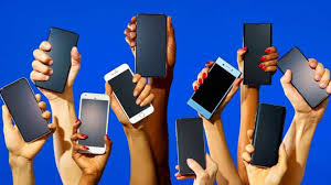 Cell phones in hands
